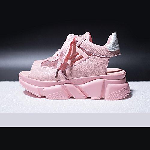 Casuales de Grueso QQWWEERRTT Malla Platform Moda Universal Cuero Summer Rosado Zapatos Respirable Sandals Fondo Fishmouth Cuero de Zapatos Rwqa4Owrx0