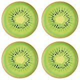 Zak Designs Espalier 8-Inch Melamine Salad Plate w/ Kiwi Slice Design 4 Piece- Great Dinnerware for Adults or Children