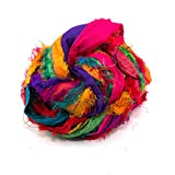 Darn Good Yarn, Recycled Sari Silk Ribbon, 130 Feet, Tibet Jewels, 100 Grams, 1 Skein