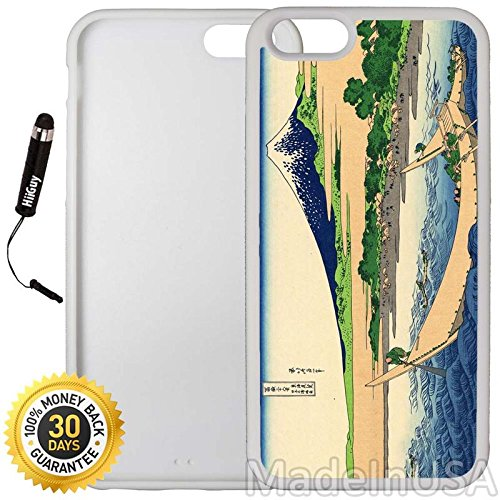 813 Six Light - Custom iPhone 6/6S Case (Cool Japanese Fishermen) Edge-to-Edge Rubber White Cover with Shock and Scratch Protection | Lightweight, Ultra-Slim | Includes Stylus Pen by INNOSUB