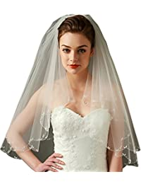 "LynnBridal 2 Layer Bridal Veil Trimmed with Beaded Scrollwork 31"" Long Ivory"