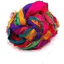 Darn Good Yarn, Recycled Sari Silk Ribbon, 130 Feet, Tibet Jewels, 100 Grams, 1 Skein