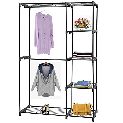 Yahee Stabiler Kleiderständer auf Rollen / Garderobenständer, viele Größe und Farbe zum Auswählen (C-mit 4 Ablagen schwarz)