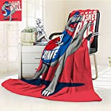 Fleece Blanket 300 GSM Anti-static Super Soft dinosaur basketball player vector design for kids tee Warm Fuzzy Bed Blanket Couch Blanket(60''x 50'')