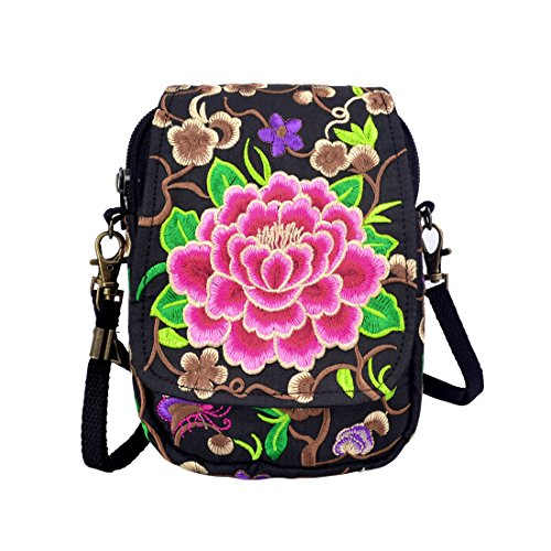 Womens Crossbody Style Shoulder Bag Bag Pack Red Body Embroidered MiLong Purse Rose Bags Phone Cross Small Flowers Ethnic dq4f5dOw