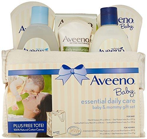 Aveeno Baby Gift Set, Daily Care Essentials Basket, Baby and Mommy Gift Set by Aveeno Baby