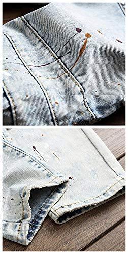 Dritta Motociclista Pantaloni Slim Jeans Casual Fit Uomo Da Gamba Stile Moto Colour Vintage Semplice Strappati wCpP5qC