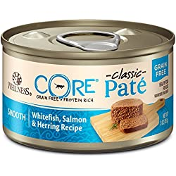 Wellness CORE Natural Grain Free Wet Canned Cat Food, Whitefish, Salmon & Herring, 3-Ounce Can