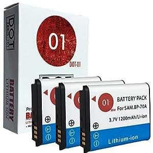 3x DOT-01 Brand 1200 mAh Replacement Samsung BP-70A Batteries for Samsung ST700 Digital Camera and Samsung BP70A