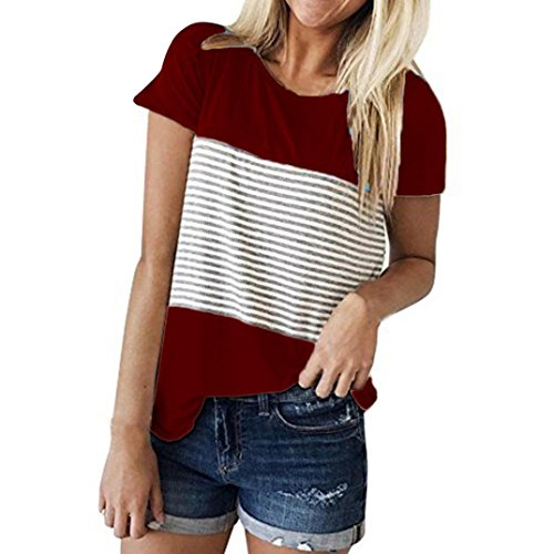 FEITONG Women Short Sleeve Round Neck Triple Color Block Stripe T-Shirt Casual Blouse (Medium, Red) swim shirts red 6