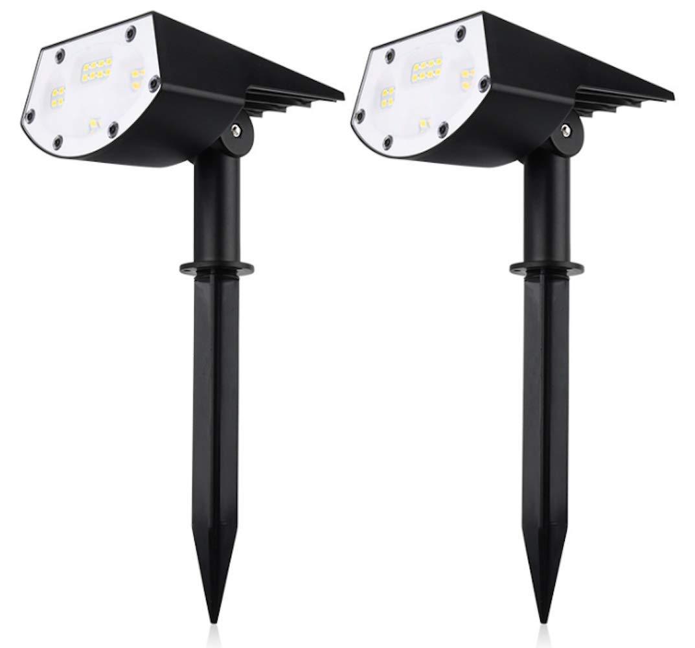 ソーラーライト 屋外 スポットライト 3つモード ガーデンライト 自動点灯 太陽光パネル充電 150°照明角度 90°調節可能 IP65防水 防犯対策 庭 玄関先 ガーデン 車道 2本入り