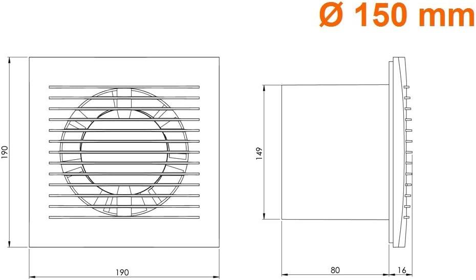 Badl/üfter L/üfter Wandl/üfter WC Bad K/üche leise Kleinraumventilator /Ø 150mm Ventilator mit Timer Silber