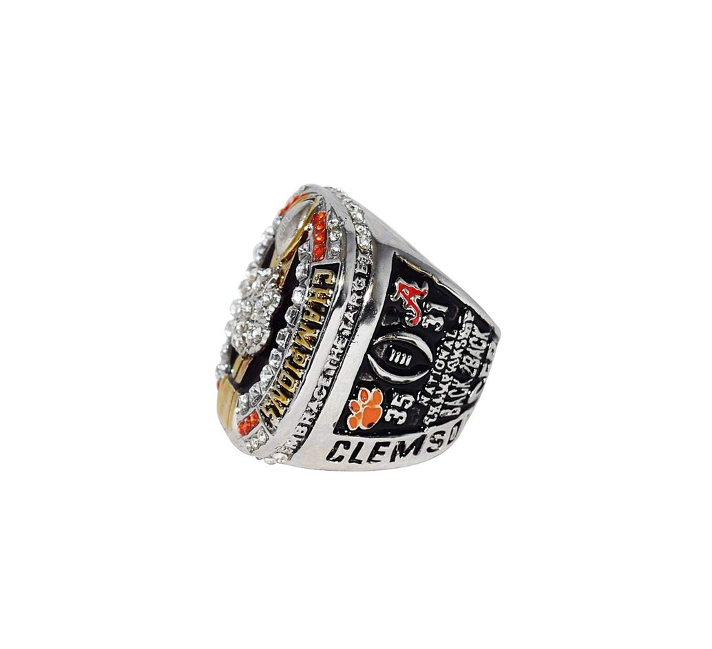 CLEMSON UNIVERSITY TIGERS (Deshaun Watson) 2016 CFP NATIONAL CHAMPIONS (Back to Back Champs) Collectible High Quality Replica NCAA Football Silver Championship Ring with Cherrywood Display Box