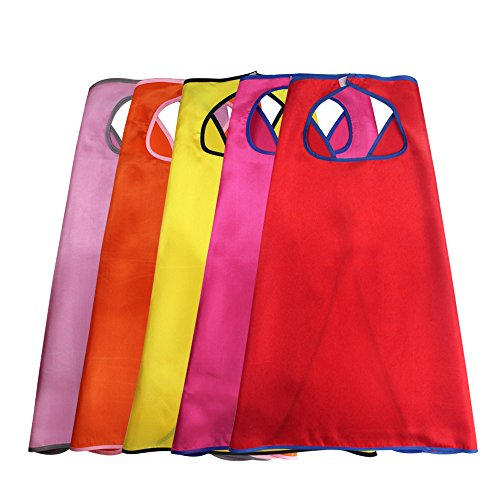 Superheroes Girls Costumes Diy (iROLEWIN Superhero Birthday Party- 5 Girl Capes - Dress Up Costume for Princess Gift Toys)