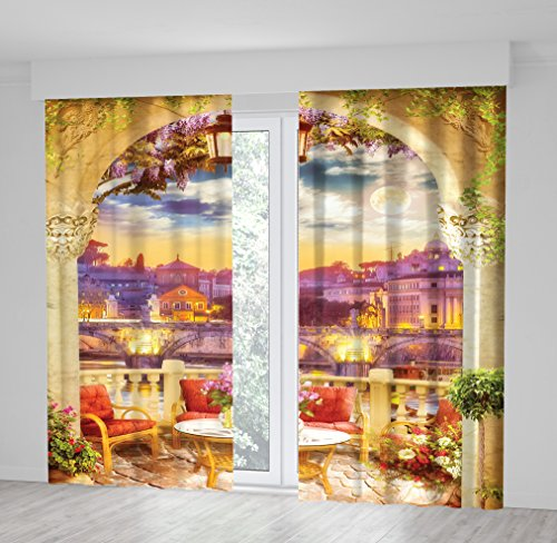 Positive Home Full Moon Sky Bridge over River Buildings Night View From Terrace with Arch Flowers Chairs Table Italy Cityscape Purple Yellow Red Colorful Curtain 114