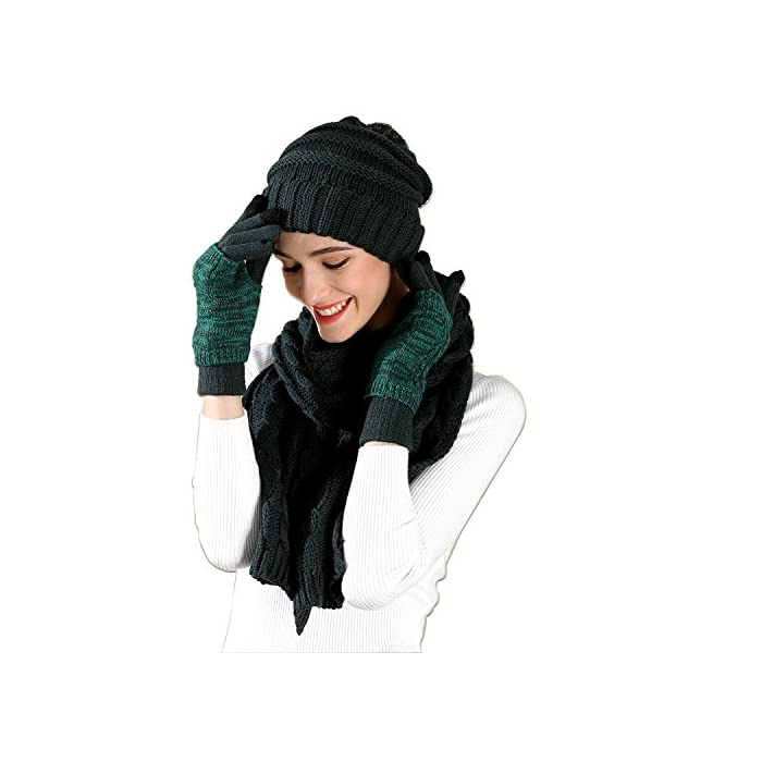 eb11954a3a0 Warm Scarf Glove Hat Beanie Set - Cap Touch Screen Glove Long Scarf 3 PCS  Set for Women