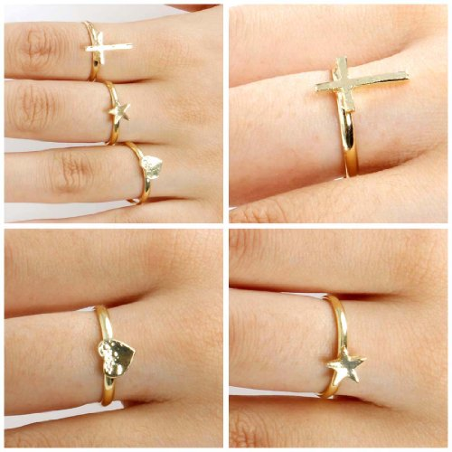 BMC 3pc Gold Color Star Heart Cross Design Adjustable Fashion