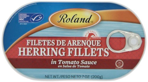 Roland Herring Fillets, Tomato Sauce, 7 Ounce (Pack of 6)