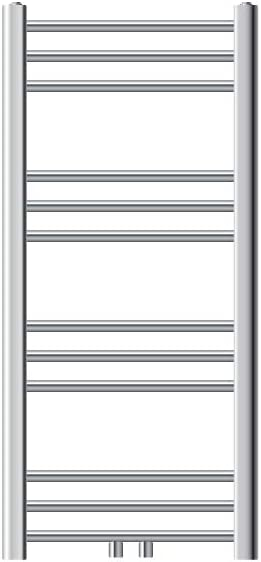 ECD Germany Radiador toallero de baño - 400 x 800 mm - Cromo - Diseño Plano - con conexión central - Diferentes tamaños y modelos - Radiador de calefacción