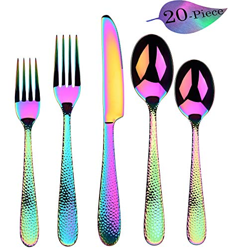 Rainbow Silverware 20-Piece Set, Flatware Cutlery Stainless Steel Utensil Set Include Knife/Fork/Spoon, Hammered Lines Mirror Polished Set of Tableware Service for 4 (Colorful Multicolor)