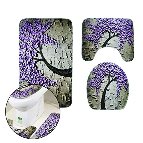 Bathroom Mat Set 3 Pieces Carved Happiness Tree Pattern Non-Slip Pedestal and Bath Mat Set Water Absorbent Toilet Seat Cover for Bathroom Floor - Purple