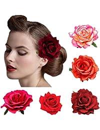 5 Pack Flower Brooch Head Ornament Bride Women Rose Flower Hair Accessories Wedding Hair Clip Flamenco Dancer