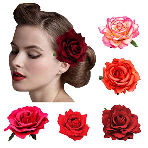 DRESHOW 5 Pack Flower Brooch Head Ornament Bride Women Rose Flower Hair Accessories Wedding Hair Clip Flamenco Dancer -