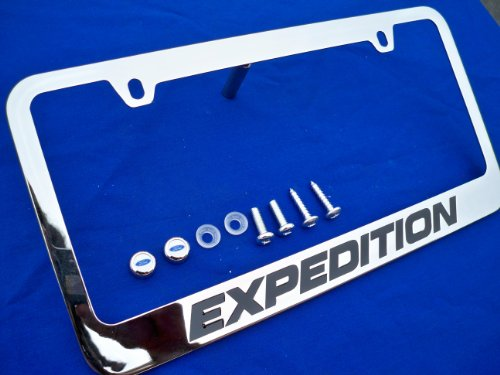 Expedition Frame - Ford Expedition Chrome Metal License Plate Frame with Screw Caps