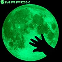 MAFOX Glow in The Dark Wall or Ceiling Stars with Moon Stickers - Luminous Decal Stickers for Simulated Moon Effect at Night - Ideal Kids Decor or Adults - Perfect Gift Kids Boys Girls