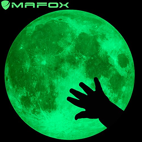 Moon Glow in The Dark Wall or Ceiling Stickers - Mafox Planet Decal Solar System Decor for Kids Room ... -