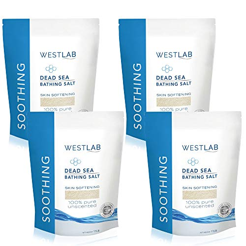 Westlab Pure, Unscented Dead Sea Salts (4 x 11lb resealable bags, 44lb) for all natural treatment of Psoriasis, Eczema, Acne, Dry skin. Relaxes aching muscles. 100% Pure and Certified mineral content.
