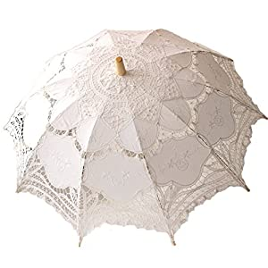 Victorian Parasols, Umbrella | Lace Parosol History White Wedding Lace Parasol Umbrella Victorian Lady Costume Accessory Bridal Party Decoration Photo Props $14.90 AT vintagedancer.com