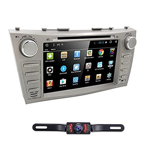 Hizpo Car DVD Player For Toyota Camry 2007 2008 2009 2010 2011 Android 6.0 Quad Core 8 Inch Screen GPS Navi BT Radio RDS DTV AUX USB Android/iPhone Mirrorlink SWC Rearview camera USA (2011 Camry Backup Camera)
