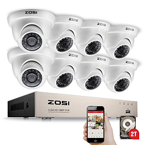 - ZOSI 8-Channel HD-TVI 1080N DVR Security Surveillance System with 8 High-Resolution 720P/1280TVL Cameras and 1TB Hard Drive