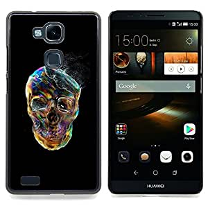 - Smoke Skull Vibrant Colorful Black/ Duro Snap en el tel????fono celular de la cubierta - Cao - For HUAWEI Ascend Mate 7