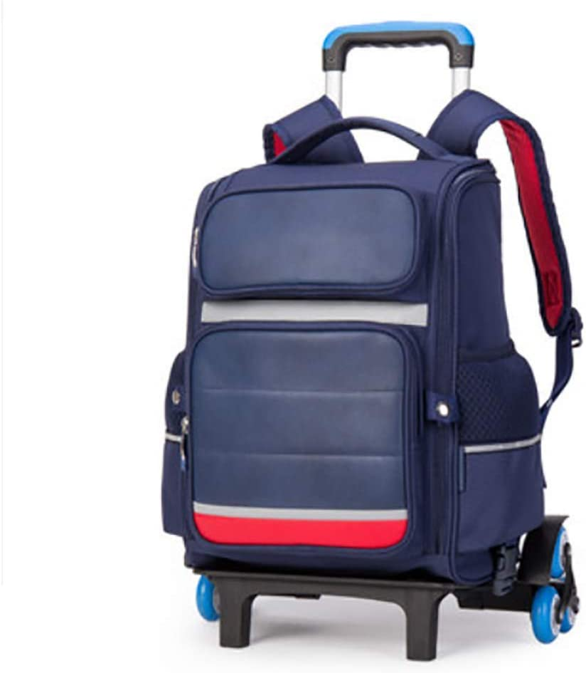 QCC/& Boys Girl Reflective Rolling School Backpacks Trolley Schoolbag Waterproof Outdoor Travelling Luggage with Removable Pull Rod 6-12 Years Old 23L,Blue