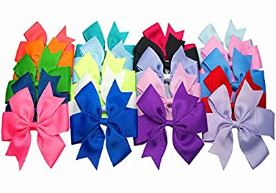 "Big Elephant 20pcs Large Women Kids Girls 5"" Ribbon Hair Bows Clips Be050"