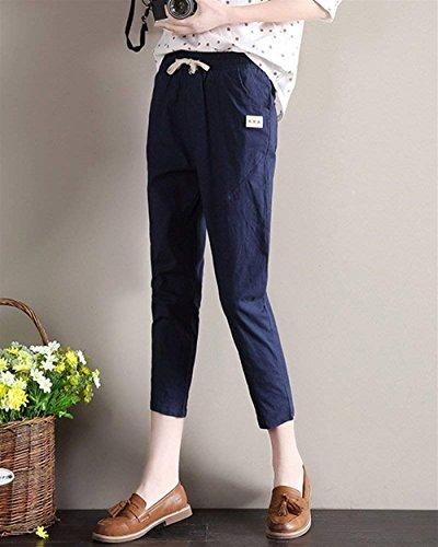 Elastico Moda Pantalone Marine Con Waist Casual Colori Chic 7 Tasche Fidanzato Pants Streetwear Elegante Matita Pantaloni Cute High Donna Solidi 8 Coulisse A wqx1pXIq