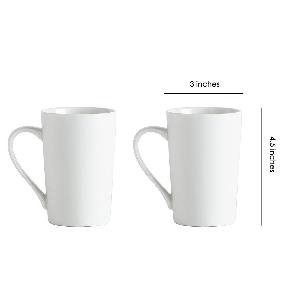 3630d7f9faa Amazon.com | Ceramic Matt Mugs - 12 Ounces for Coffee, Tea, Cocoa, Set of  2, White (White): Coffee Cups & Mugs