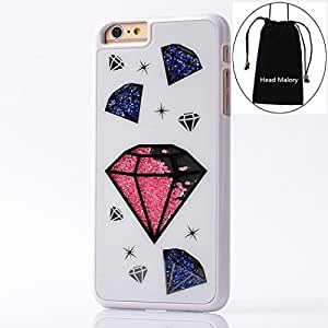 "iPhone 6 Plus 5.5 Inch Case,Colorful Deluxe Bling Moving Diamond Rhinestone Protective Shell Hard Crystal Back Case Cover for Apple iPhone 6 Plus ( At&t, Sprint, Verizon ) + ""Head Malory"" Logo Cellphone Drawstring Pouch - White Diamond"