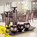 Dublin Decorative Candle Holder Set of 2 - Home Decor Pillar Candle Stand, Coffee Table Mantle Decor centerpieces for Fireplace, Living or Dining Room Table, Gift Boxed (Coffee Brown)