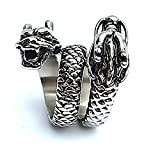 LILILEO Jewelry Titanium Steel 2 Huge Dragon Head Biker Rocker Ring For Men's Rings