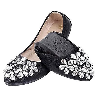 Otamise Women's Wedding Flats Rhinestone Slip On Foldable Ballet Shoes 5.5 Black