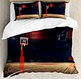 Basketball Bedding Duvet Cover Sets for Children/Adults/Kids/Teens Twin Size, Picture of Empty Basketball Court Sport Arena with Wood Floor Print, Hotel Luxury Decorative 4pcs Set, Brown Black and Red