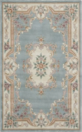 Rugs America New Aubusson Area Rug, 2-Feet by 4-Feet, Light Green