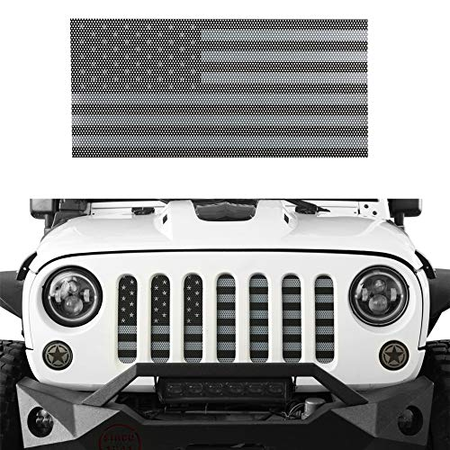 Hooke Road Front US American Flag Jeep Grille Insert Old Glory for 2007-2018 Jeep Wrangler JK & Wrangler Unlimited (Black Out)