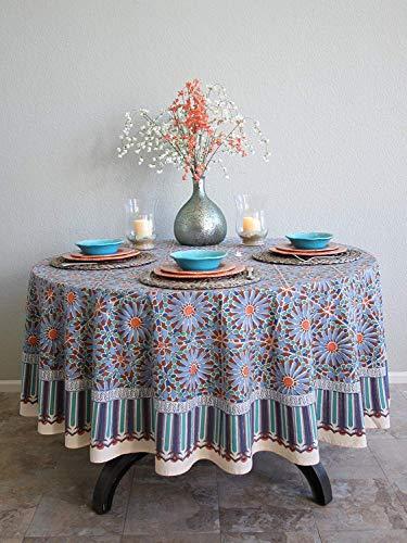 Saffron Marigold Mosaique Bleue Daisy Floral Tablecloth | Mosaic Moroccan Tile Medallion Print | Hand Printed Indian Romantic Elegant Tablecloth 90 Round