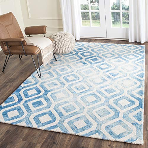 Safavieh Dip Dye Collection DDY679A Handmade Geometric Watercolor Ivory and Blue Wool Area Rug 2 x 3
