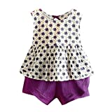 FEITONG Toddler Kids Baby Girls Outfits Clothes Sleeveless Back Strap Printing T-Shirt Vest+Shorts 2PCS Set(Purple,2-3Y)