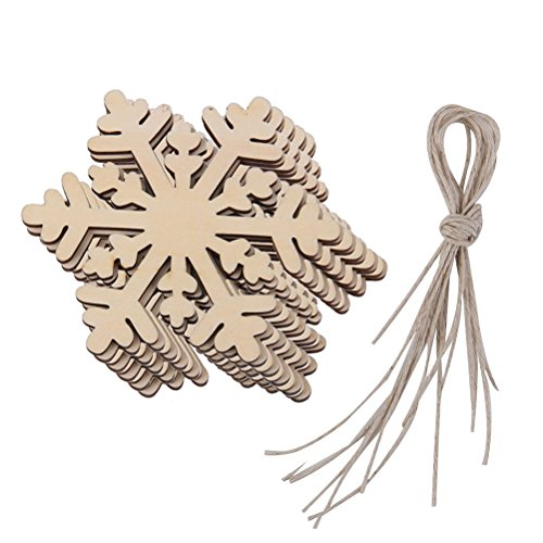 Snowflakes Pack (JANOU Christmas Wood Hexagon Snowflake Crafts Hanging Ornaments Wooden Embellishments Christmas Decoration Pack 10pcs)